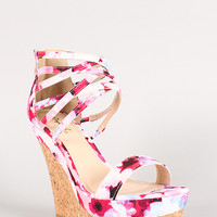 Qupid Floral Print Open Toe Strappy Cuff Cork Platform Wedge