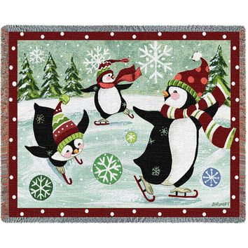 Christmas Penguin Afghan Throw Blanket