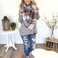 The Perfect Blanket Scarf - Lt. Blue/Cranberry