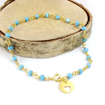 Turquoise Bracelet - 14K Gold Plated Silver