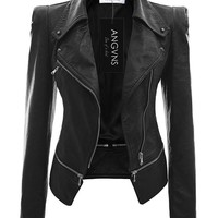 ANGVNS Stylish Women's Faux Leather Power Shoulder Coat for Winter Black S