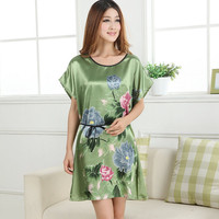 Hot Sale Lady Summer Robe Green Chinese Women Silk Rayon Bath Gown Yukata Nightgown Nuisette Pijama Mujer One Size Flower Zh01H