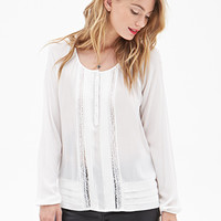 LOVE 21 Pintucked Lace Peasant Top Ivory