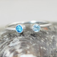 Sterling Silver Dual Stone Ring