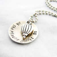 HAND STAMPED GRADUATION Gift - Oh the Places You'll Go, Hot Air Balloon Jewelry, Dr. Seuss quote