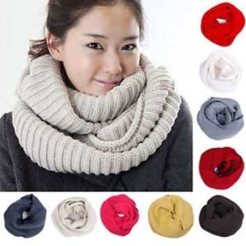 Men Women Winter Warm Infinity 2 Circle Cable Knit Cowl Neck Long Scarf Shawl = 1946254212