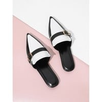 Pointed Toe Contrast Flat Mules