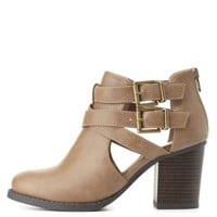 Belted Cut-Out Chunky Heel Booties by Charlotte Russe - Taupe