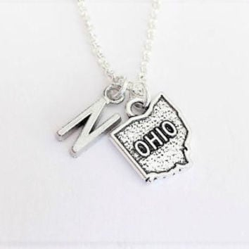 Ohio necklace initial necklace Ohio jewelry Ohio map necklace friendship best friend no matter where monogram necklace handmade jewelry
