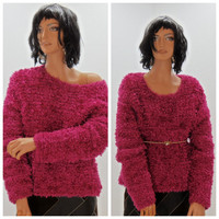 Hot pink shaggy sweater, size S / M, boucle sweater by Cache, magenta knit pull over sweater, 80's bright pink fuzzy sweater, Sunny Boho