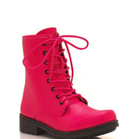faux-leather-combat-boots BLACK NEONPINK WHITE - GoJane.com