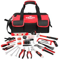 169-Piece Multi-Purpose Home Repairing Tool Set, EXCITED WORK Portable Daily Use Household Hand Tool kit with Large Mouth Opening 16-inch Tool Bag for DIY and Home Maintenance