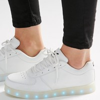 Wize & Ope White Light Up Sole Trainers at asos.com