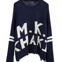 Navy Letter Pattern Loose Sweater