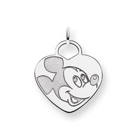 Disney's Sterling Silver Mickey Mouse Heart Shaped Charm