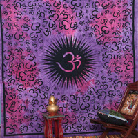 Large Dorm Wall Hanging , Indian Spiritual Om Mandala Tapestry Fabric Throw Bedspread Queen Bed Decor Sheet Ethnic Decorative Art
