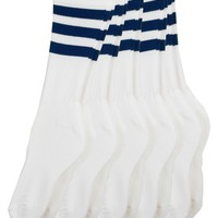 rsaskpac5 - Stripe Calf-High White Sock (5-Pack)