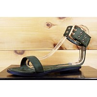 So Me Gianni Olive Green Grommet Detail Ankle Cuff Flat Sandal Shoe 6-10