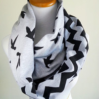 Black Bird Chevron Heather Gray infinity scarf- soft jersey knit- Ready to ship