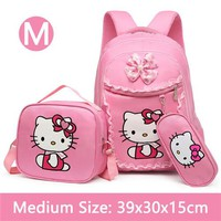 School Backpack Pink Hello Kitty Girls Backpack School Bag With Lunch and Pencil Case Set 3 for Children Primary School Book Bags AT_48_3