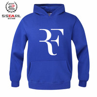 SSEARL. Autumn Winter Roger Federer signature RF logo perfect men women unisex zip up hoodies Sweatshirts Hoody Fleece Pullovers