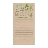 Herb Garden Market List Notepad on Kraft Paper