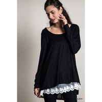 Long Sleeve  Knit Top With Lace, Black(Size  S)