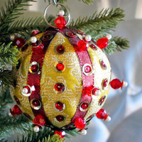 Christmas Ornament, Gold Ball with Red & Pearl Accents in Gift Box, Handmade Fabric Tree Decoration, Holiday Decor, Wrapped Hostess Present