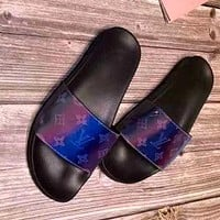 LV laser letter printed men and women wild beach sandals
