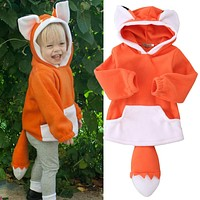 3D Fox Toddler Kids Boys Girls Coat Outerwear Hooded 2017 Children Clothing Clothes Winter Jacket Roupa Infantil kid clothes