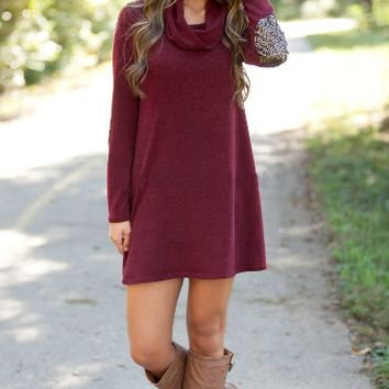 Red Wine Cowl Neck Sequins Sleeve Dress