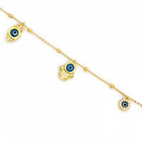 925 Sterling Silver Charm Bracelet Hamsa and Evil Eye Yellow Gold Plated