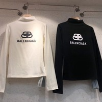 """"""" Balenciaga"""" Woman Casual Fashion Letter Solid Color Printing Loose High-necked Large Size Long Sleeve T-Shirt Tops"""