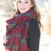 Perfect For Fall Oversized Plaid Blanket Scarf (Burgundy)