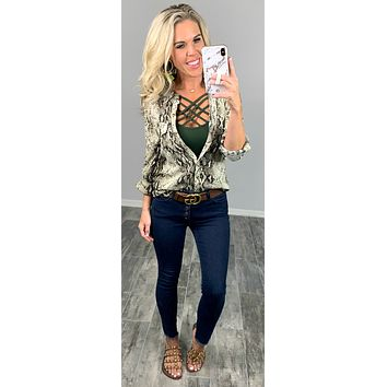 Snazzy Snake Print Top - Olive