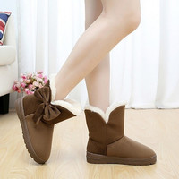2015 New Arrival Hot Sale Women Boots Solid Bowtie Slip-On Soft Cute Women Snow Boots Round Toe Flat with Winter Shoes = 1705638084