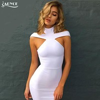 2018 New Fashion Winter Sexy Off The Shoulder Halter Bandage Dress White khaki black Club Celebrity Evening Party Dress Vestidos