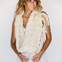 Knitted Shag Infinity Scarf