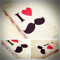I Heart Mustache White Case studded with Rhinestones iPhone 4 4S