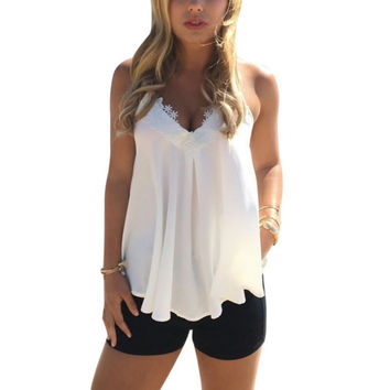 Fashion Summer Women Lace Casual Sleeveless Vest Shirt Tank Tops Blouse