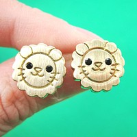 Lion Shaped Adorable Animal Stud Earrings in Gold with Allergy Free Posts