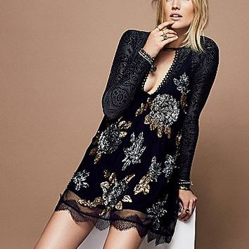 Free People Womens Gilded Floral Dress