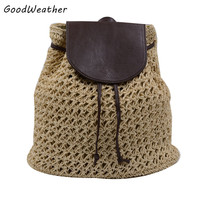 Vintage straw backpack designer hollow out woven drawstring laides bags small summer beach backpacks 4 colors mochilas feminina