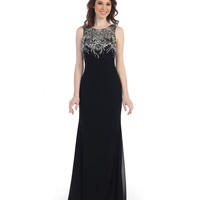 Black Fitted Sequin Sheer Back Gown 2015 Prom Dresses