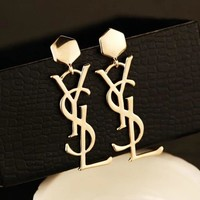 YSL Stylish Women Letter Exaggerated Smooth Glossy Earring Stud Earrings