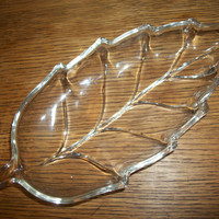Clear Pressed Glass Fall Leaf Shaped Serving Dish Nut Candy Relish Tray Heavy Vintage Vanity Table Dresser Top or Soap Dish
