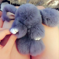 Furs Rabbit Stuffed Plush Toy With Ring Pendant Bag Car Charm Tag Cute Mini Rabbit Decoration Toy Doll Real Fur Monster Keychain