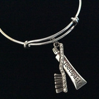 Rhinestone Tooth Brush and Toothpaste Charm on Expandable Adjustable Wire Bangle Bracelet DH Dentist Gift