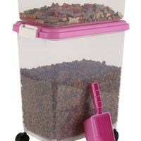 Pet Food Container Combo Kit Airtight with Measuring cup Pink keeps Pet Food Fresh