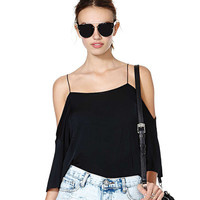 Black Halter Off-Shoulder  Loose Chiffon Top